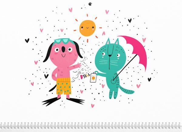 ilustracion verano perro y gato