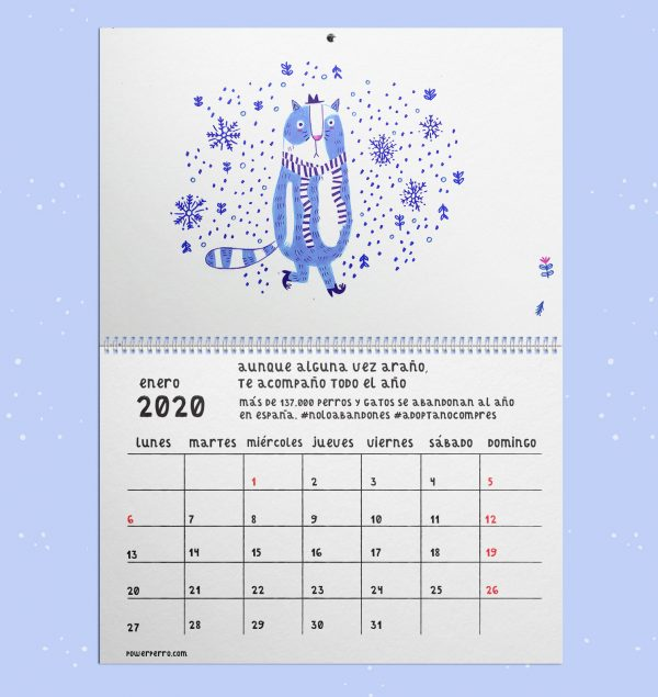 Enero calendario ilustrado 2020 gatos